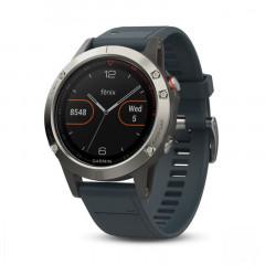 Garmin Fenix 5 GPS Watch Silver with Granite Blue Band
