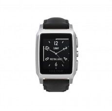 Vector Meridian Steel with Black Leather Strap Smart Watch (Small)
