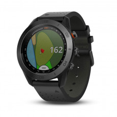 Garmin Approach S60 Black Ceramic Bezel with Black Leather Band - 010-01702-02
