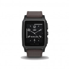 Vector Meridian Brushed Black with Brown Leather Strap