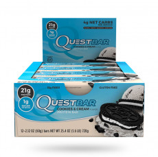 Quest Nutrition Protein Bar Cookies and Cream 12 Per Box