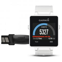 Garmin Vivoactive Smartwatch with HRM Bundle White GPS Connected