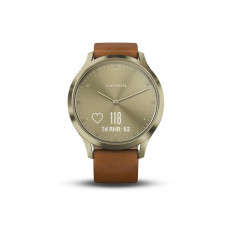 Garmin Vivomove HR Gold Tone Light Brown Leather Band Premium (S/M) - 010-01850-05