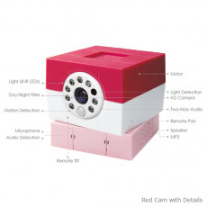 Amaryllo Petite 360 Degree Pet Camera with Motion / Audio Detection Red