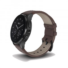 Vector Luna Brushed Black With Brown Leather Strap Smart Watch (Small)