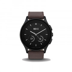 Vector Luna Brushed Black With Brown Leather Strap Smart Watch