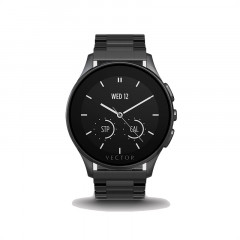 Vector Luna Brushed Black with Black Steel Bracelet Smart Watch