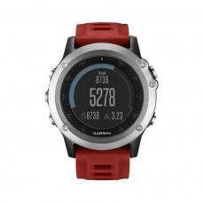 Garmin Fenix 3 GPS Watch With Heart Rate Monitor Silver Red Band