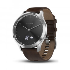 Garmin Vivomove HR Silver Tone Dark Brown Leather Premium Large - 010-01850-04