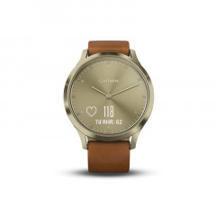 Garmin Vivomove HR Gold Tone Light Brown Leather Band Premium (S/M) - 010-01850-05