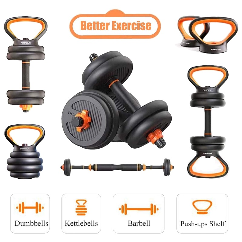 Home Use Dumbbell Set 6 in 1 Adjustable with Barbell and Kettle Bell