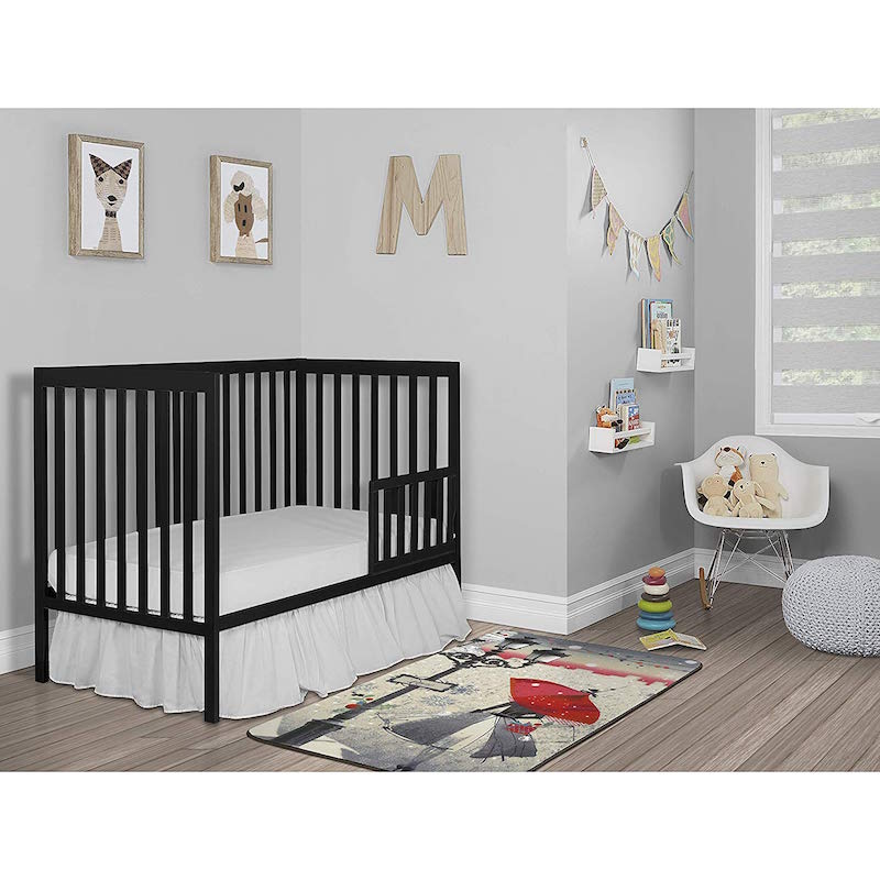 Dream On Me Synergy 5 In 1 Convertible Multipurpose Baby Crib Black