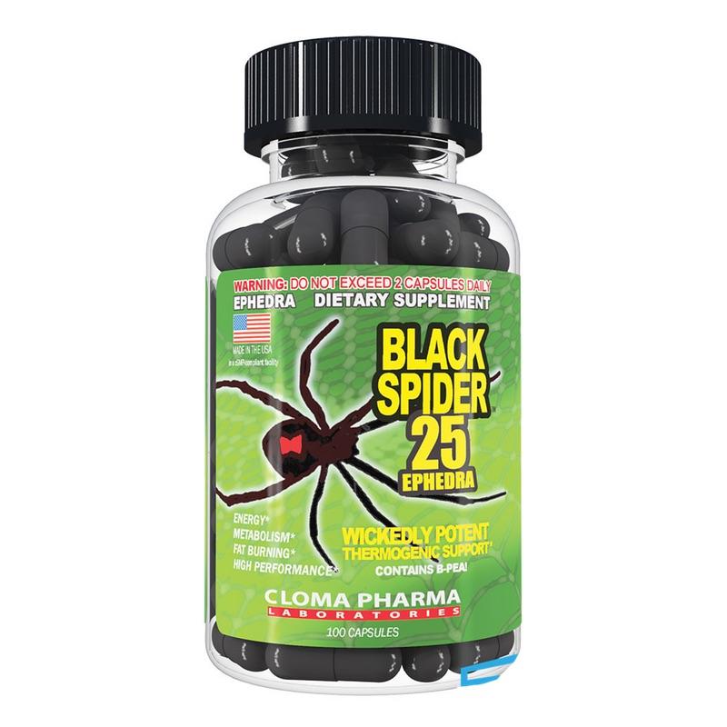 Cloma Pharma Black Spider Fat Burner Ephedra 100 Caps