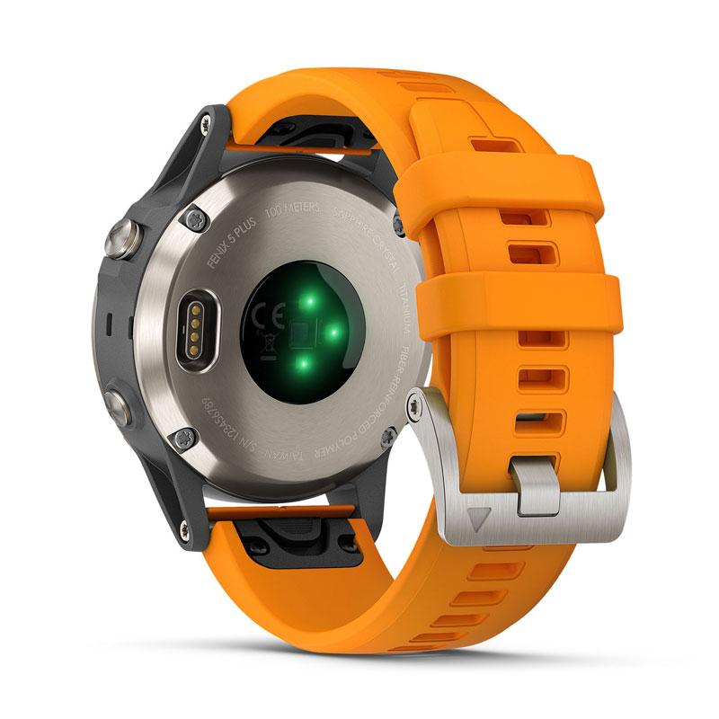 Garmin Fenix 5 Plus Sapphire Titanium With Solar Flare Orange Band