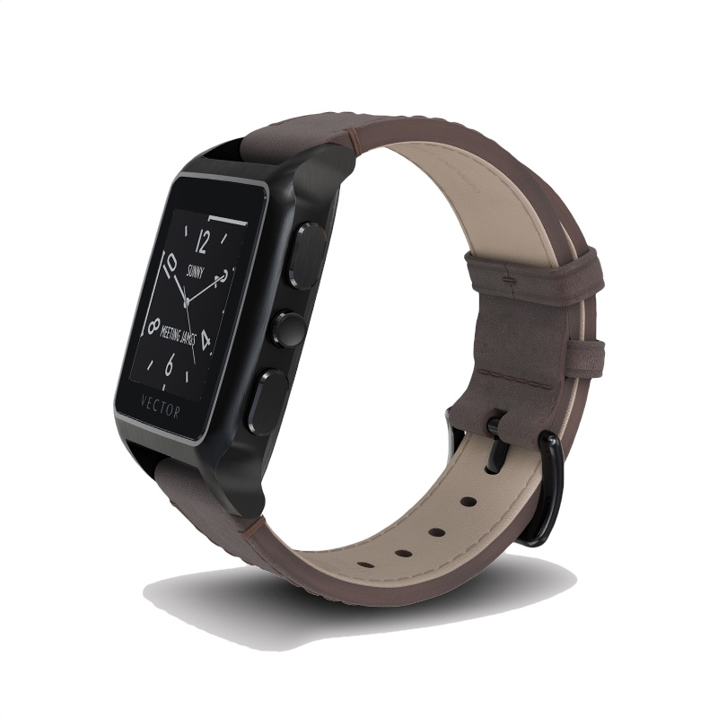 Buy Vector Meridian Brushed Black With Brown Leather Strap