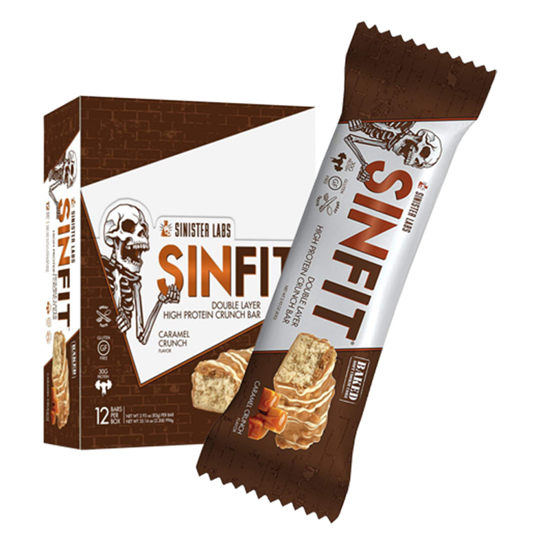Sinister Labs Sinfit Caramel Crunch Bars - 12 Bars