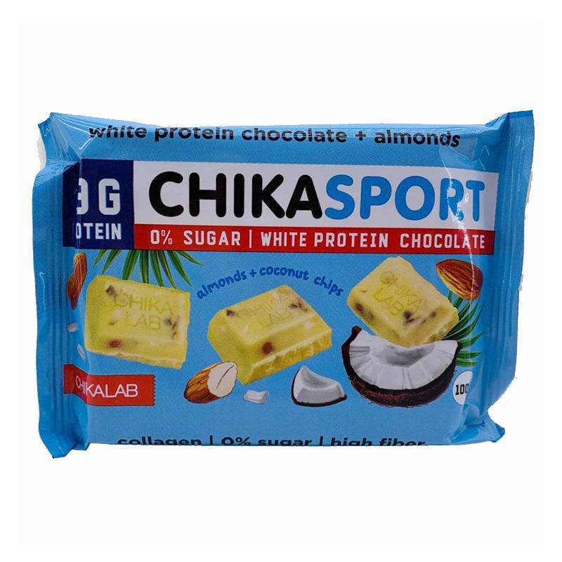 Chika Sport Protein White Chocolate with Almonds 1x4