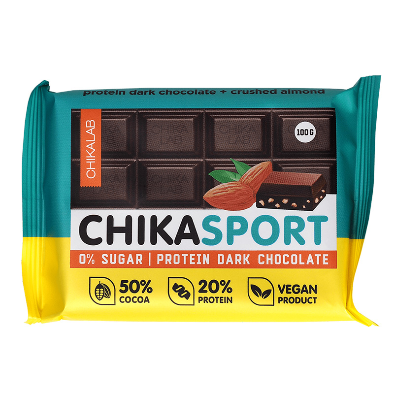 ChikaLab Chika Sport Protein Bar - Dark Chocolate Almond 4 in a Box