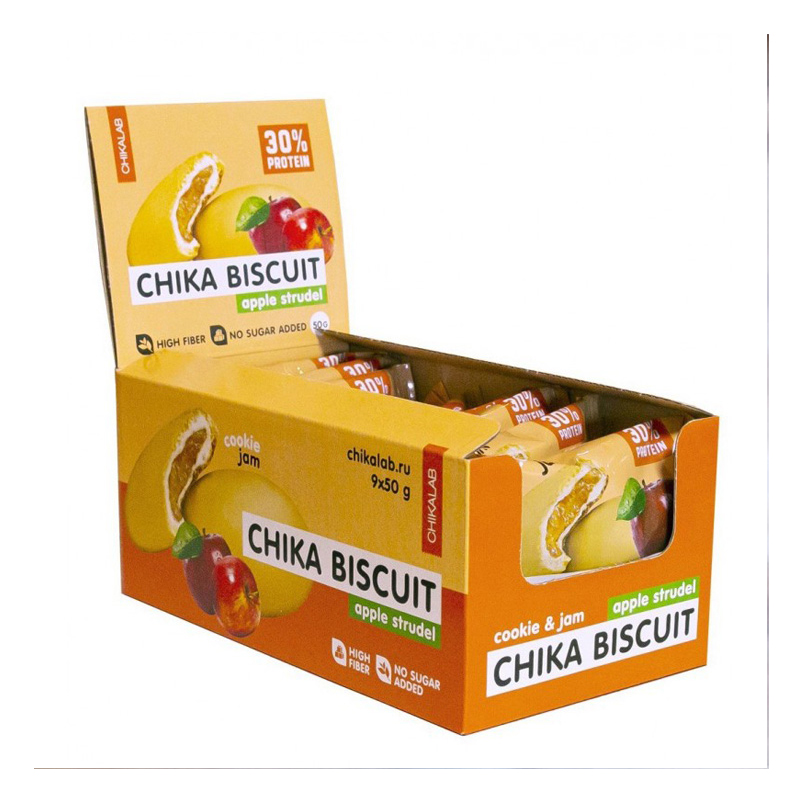 Chikalab Protein Chika Apple Strudle Biscuits 1x9 Packs