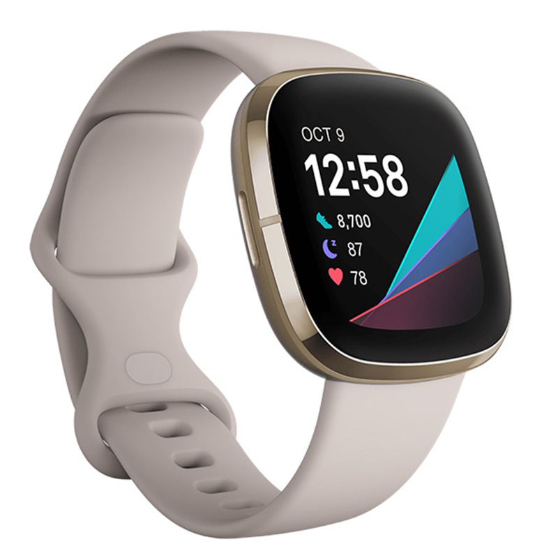 FitBit Sense Lunar White Soft Gold Stainless Steel