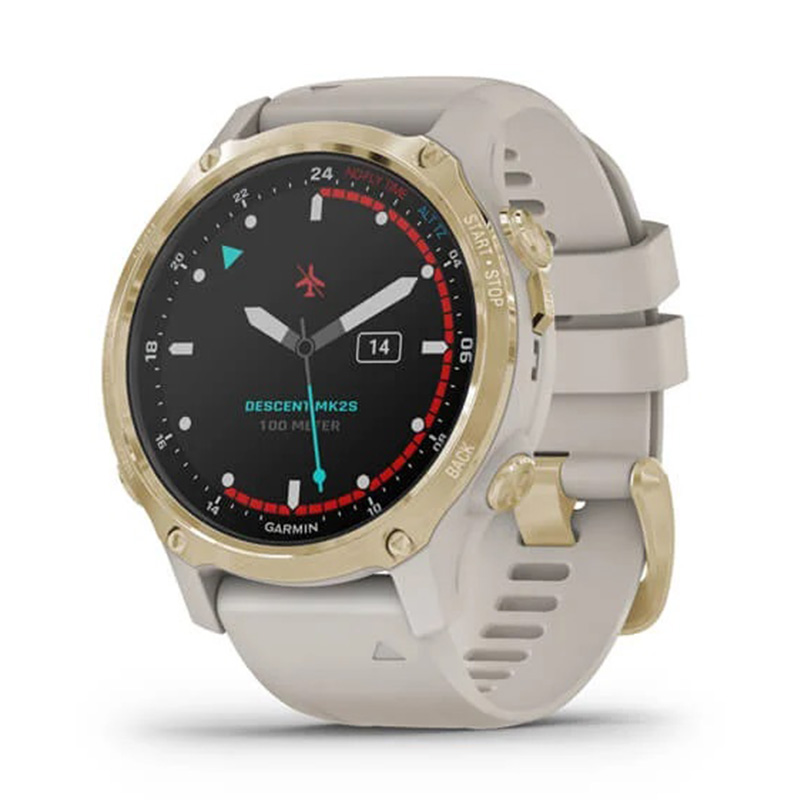 Garmin Descent Mk2S Light Gold with Light Sand Silicone Band 43mm