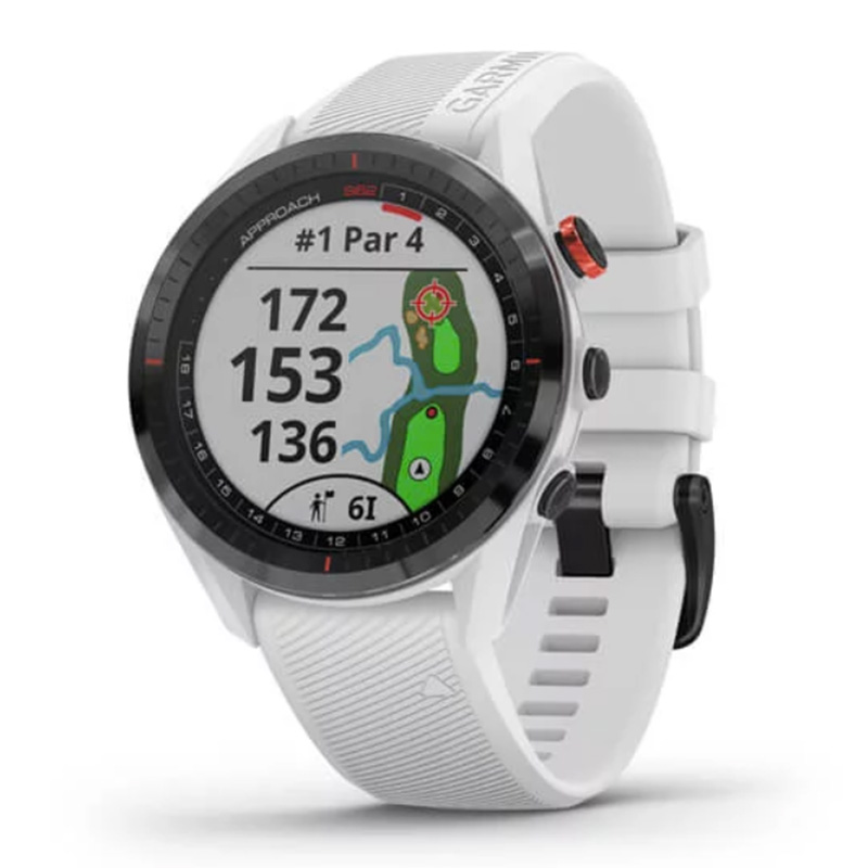 Garmin Golf Watch Approach S62 Black Ceramic Bezel with White Silicone Band