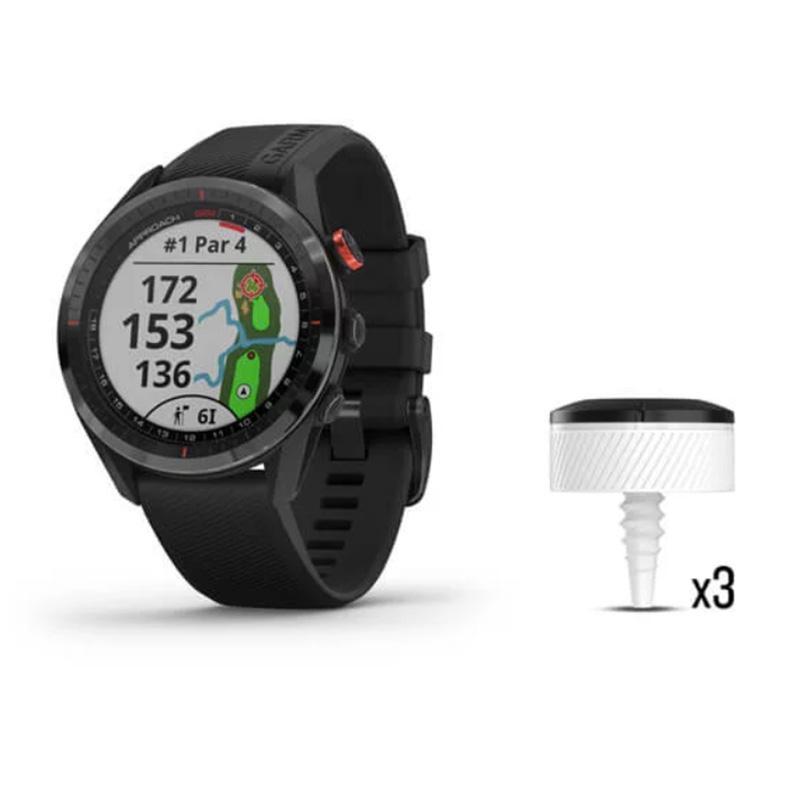 Garmin Golf Watch Approach S62 Bundle Black Ceramic Bezel with Black Silicone Band Bundle