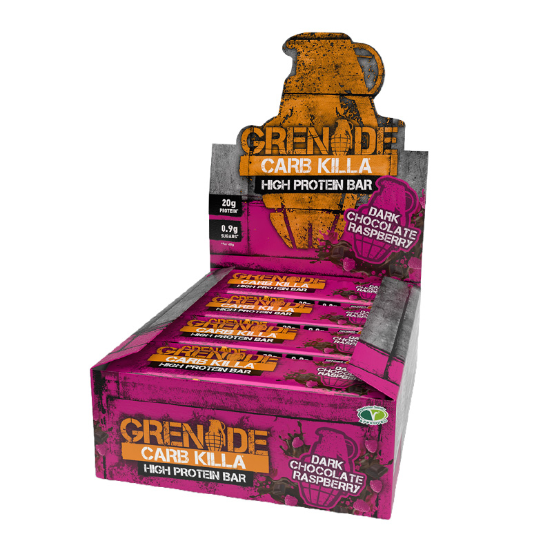 Grenade Carb Killa Box 1x12 Protein Bars Raspberry Dark Chocolate