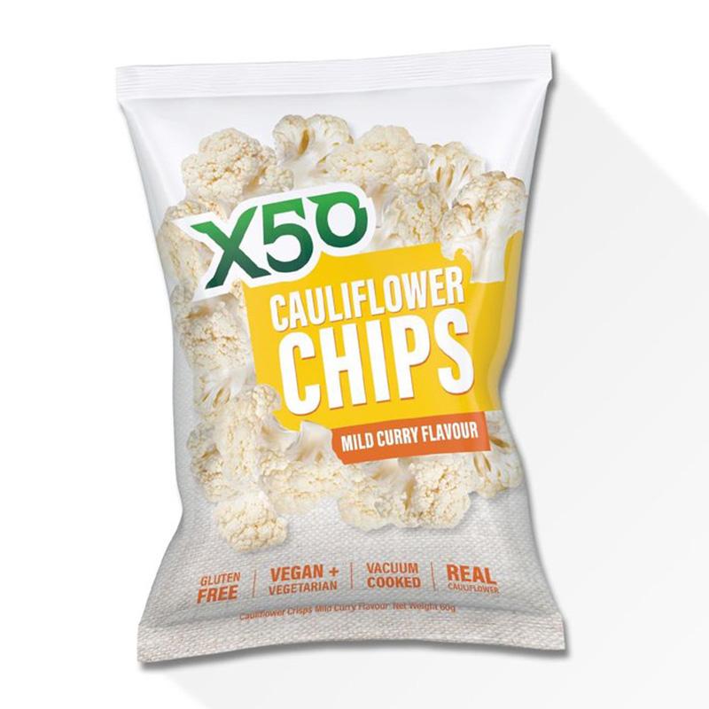 X50 Cauliflower Chips Mild Curry 60g